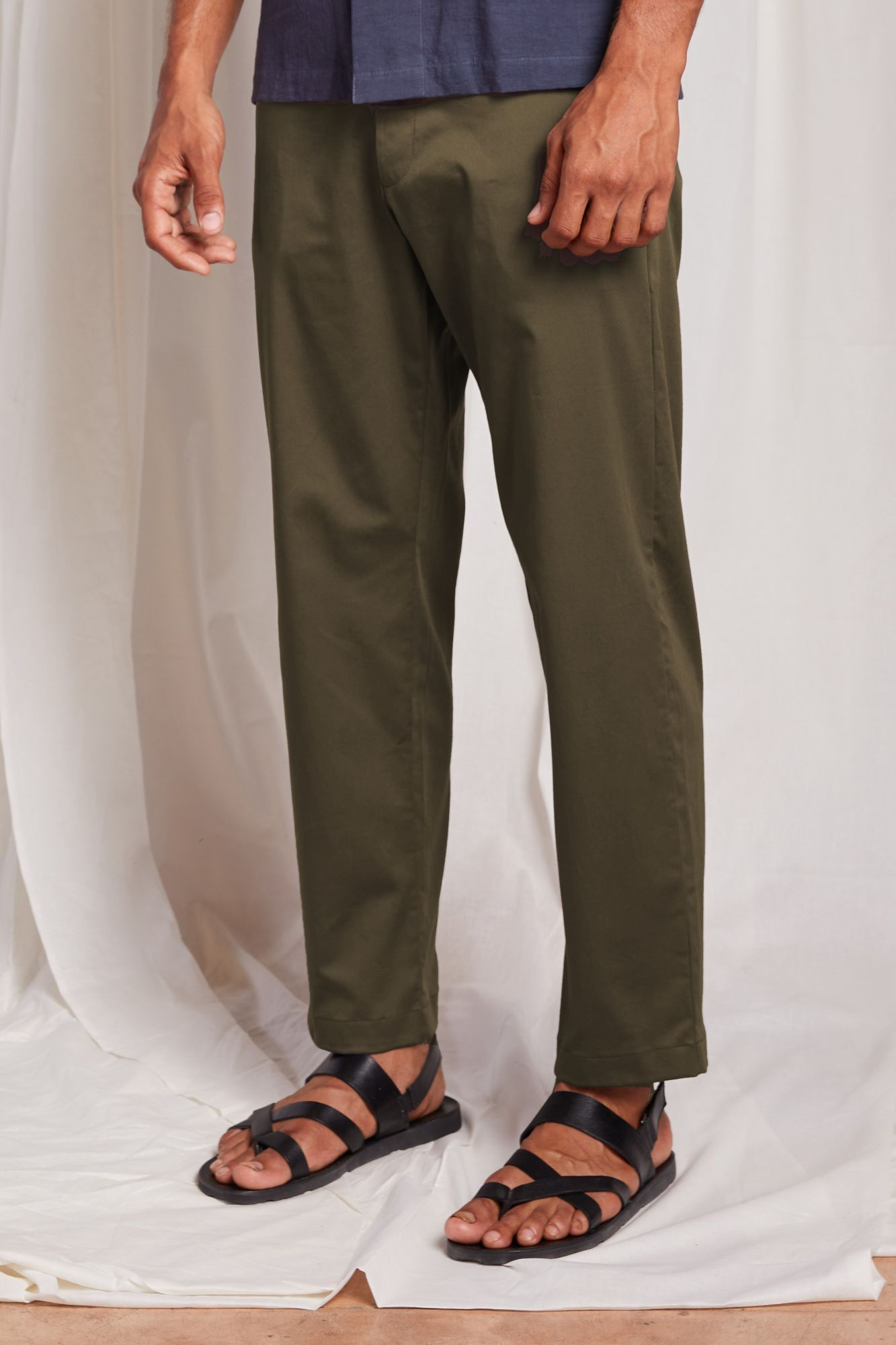 Flat Front  Trouser-Olive