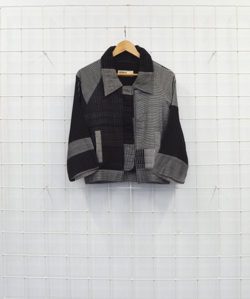 Striped Bomber Jacket - Black and White