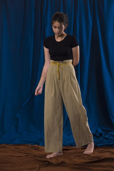 Solid / Paper Bag Waist Trouser