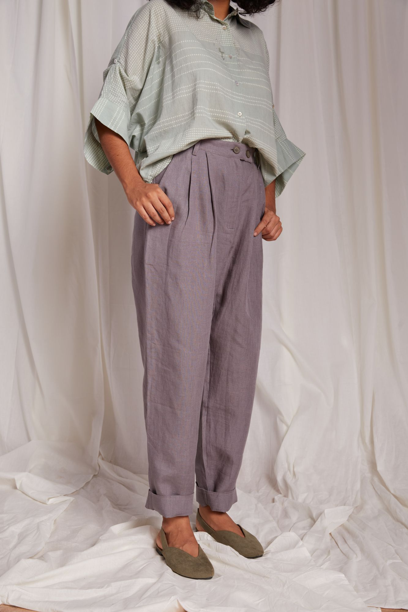Pleated  Linen Trousers - Grey
